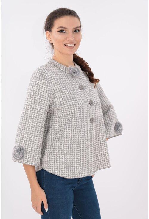 Cardigan tricotat gri tip piciorus cocos