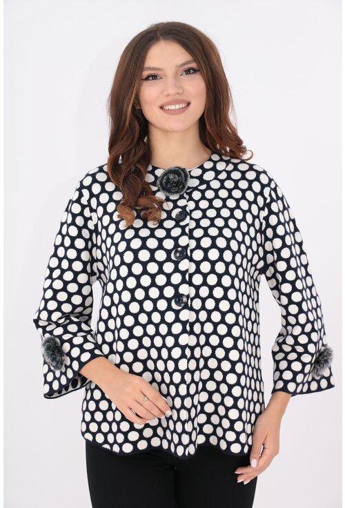 Cardigan tricotat negru cu buline albe