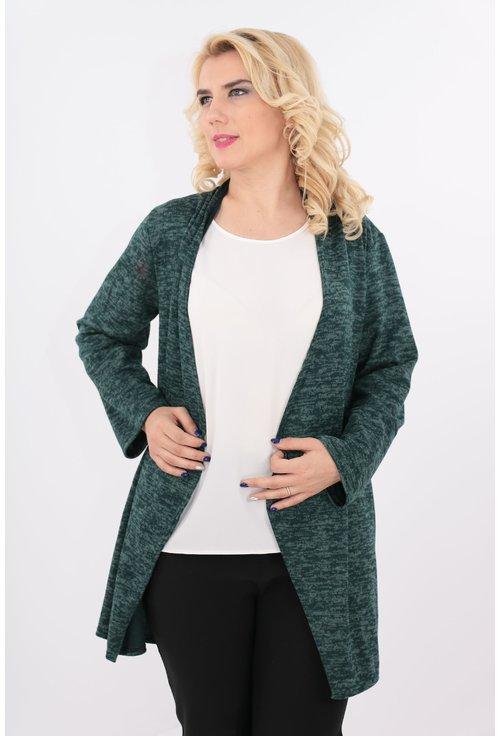 Cardigan verde din jerse gros
