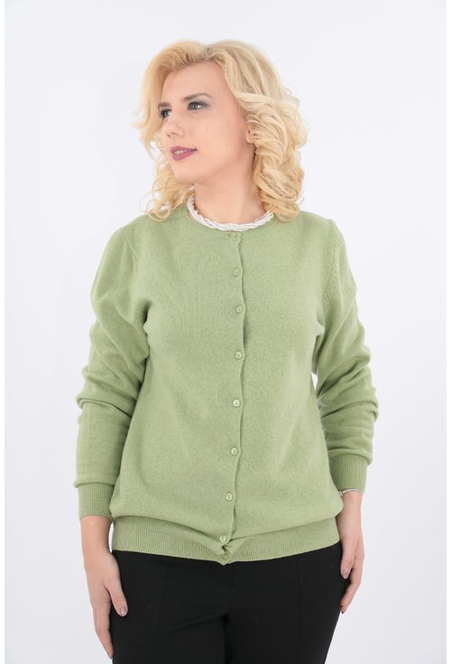 Cardigan vernil tricotat din lana