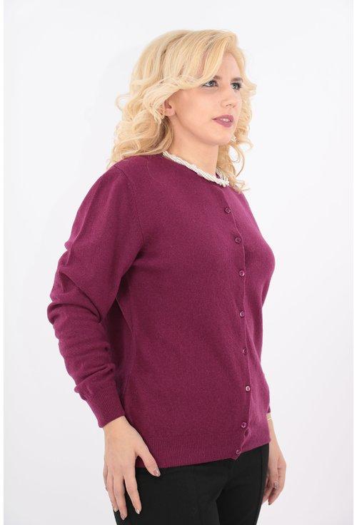 Cardigan violet tricotat din lana