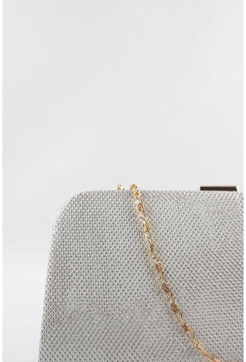 Clutch argintiu din piele ecologica texturata cu sclipiri discrete