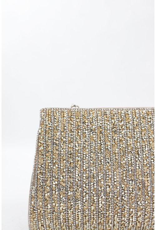 Clutch auriu din material textil sidefat cu strasuri