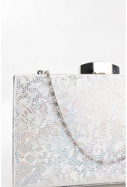 Clutch cu efect de curcubeu din material textil