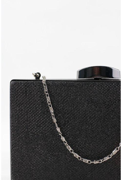 Clutch negru din material textil tip lurex