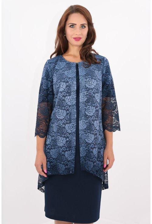 Compleu elegant bleumarin rochie si blazer din dantela