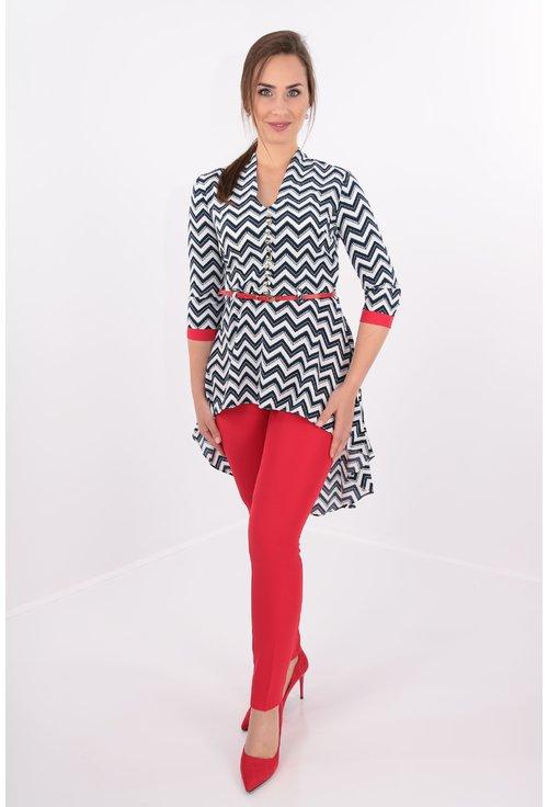 Costum cu bluza si pantaloni rosii