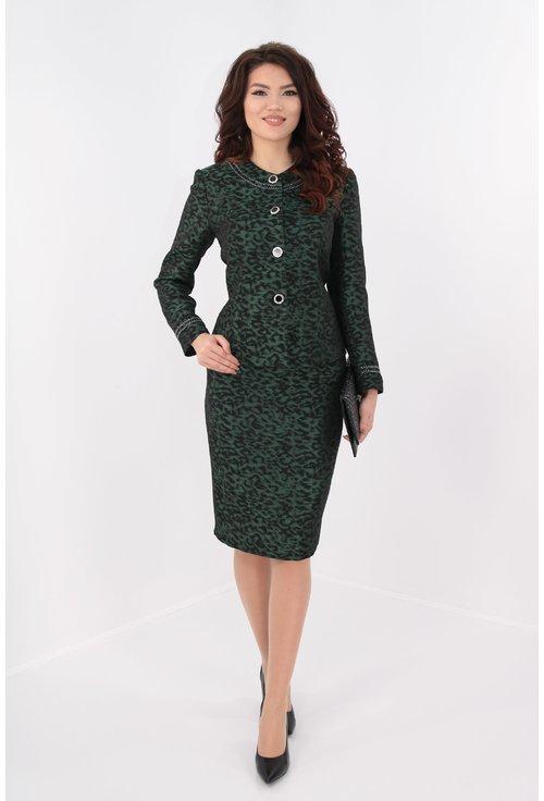 Costum elegant din brocard verde cu negru