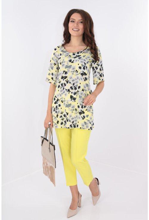 Costum galben bluza din voal si pantaloni