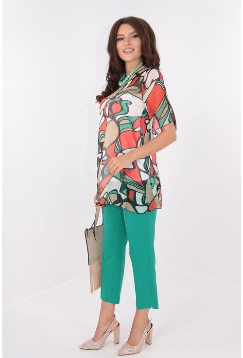 Costum verde bluza din voal si pantaloni