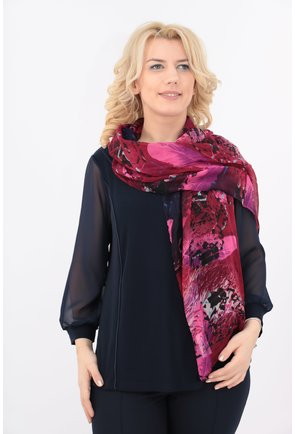 Esarfa fina violet cu print abstract