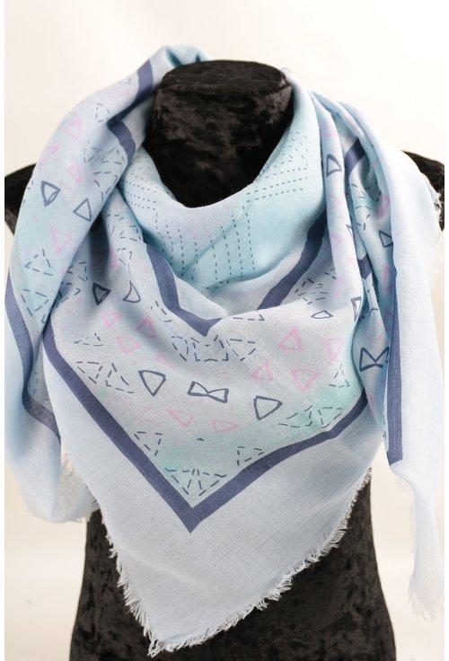 Esarfa patrata fina bleu cu desen geometric