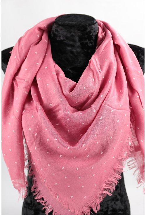 Esarfa patrata roz cu buline albe