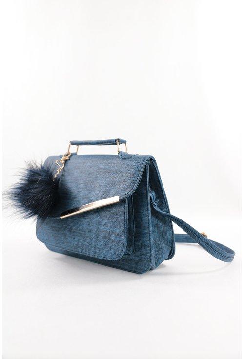 Geanta albastra cu canaf