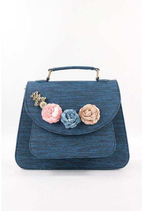 Geanta albastra cu trandafiri