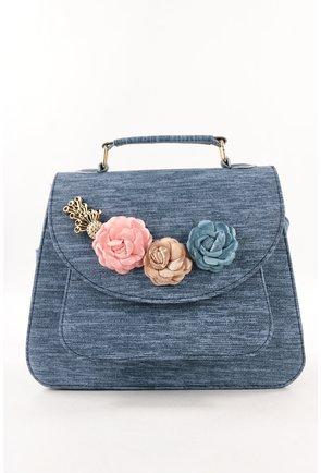 Geanta bleu cu trandafiri