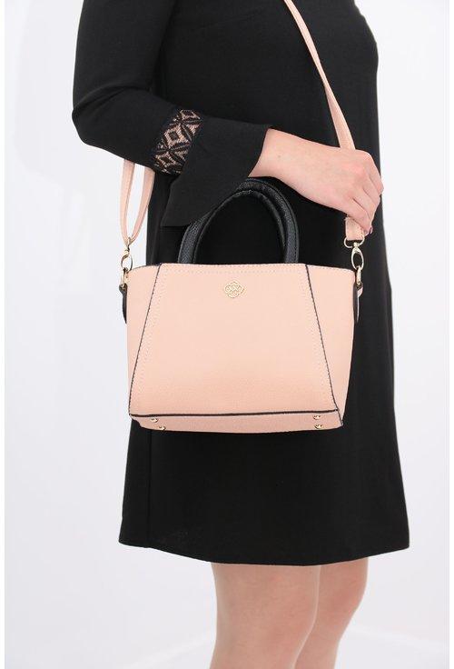 Geanta roz pudra cu manere negre