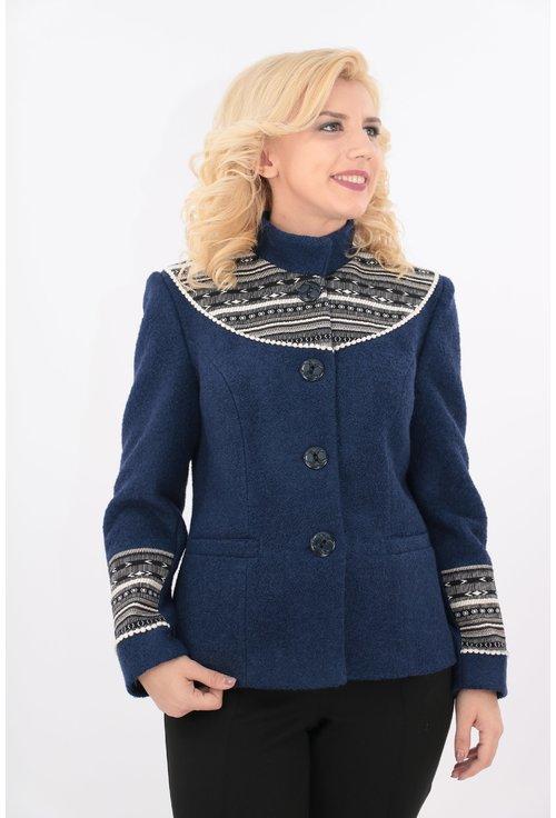 Jacheta bleumarin din stofa bucle cu motive traditionale
