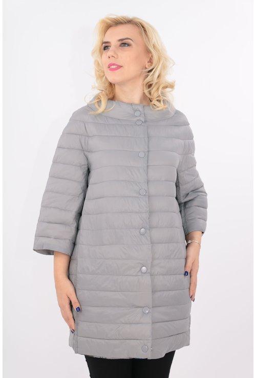 Jacheta de fas gri cu maneci trei sferturi
