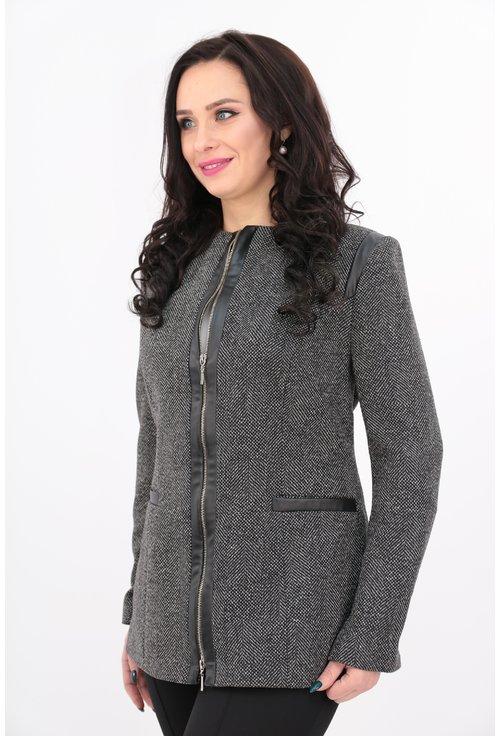 Jacheta din stofa cu fermoar
