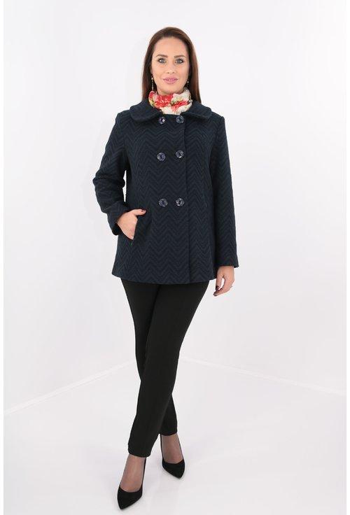 Jacheta din stofa groasa bleumarin cu negru