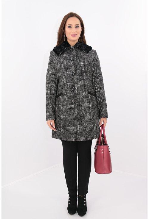 Jacheta din stofa in carouri cu guler din blanita neagra