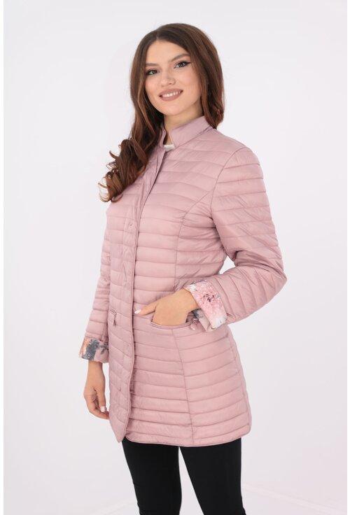 Jacheta fas roz cu captuseala cu desen floral