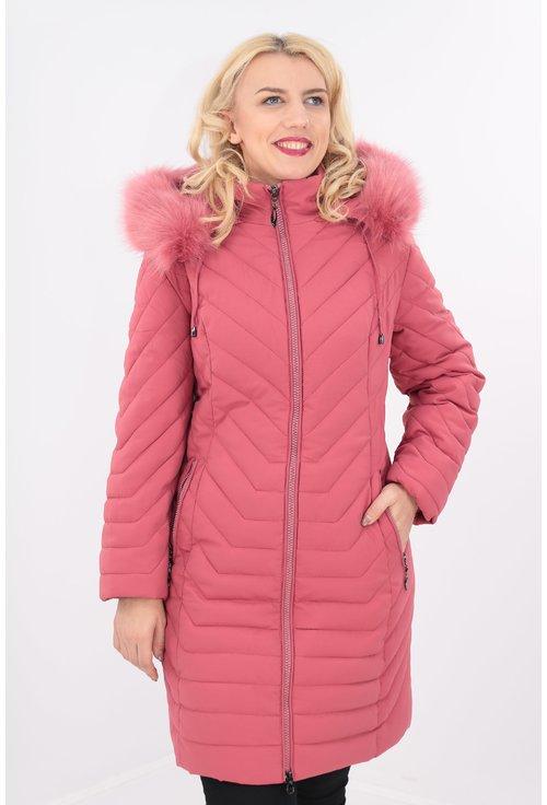 Jacheta groasa din fas matlasata cu blanita roz
