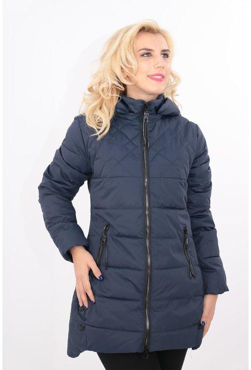 Jacheta matlasata bleumarin cu fermoare negre