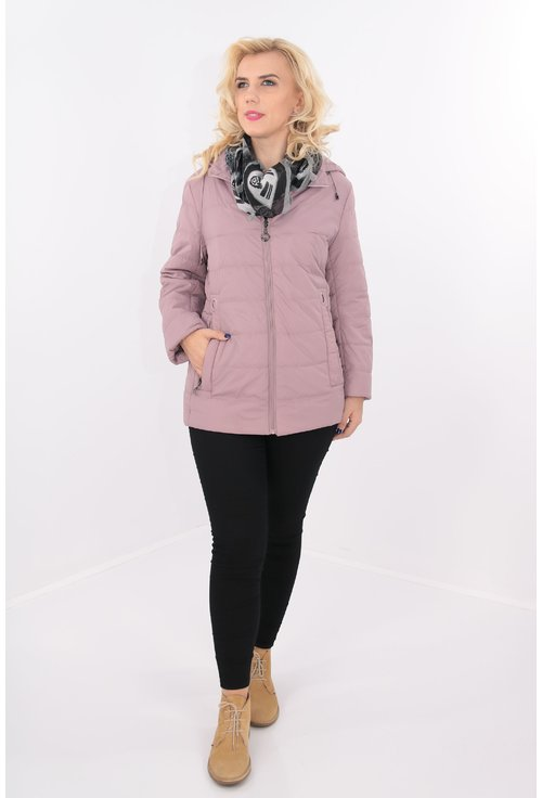 Jacheta matlasata din fas roz pudra