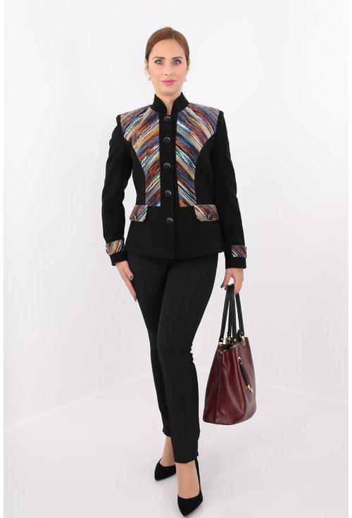 Jacheta neagra cu garnitura multicolora