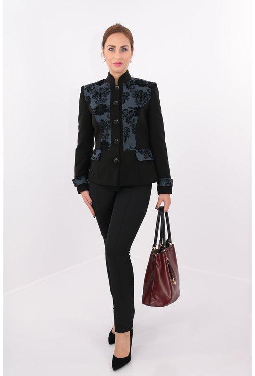 Jacheta neagra cu garnituri gri