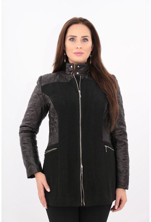 Jacheta neagra din stofa groasa si fâș matlasat