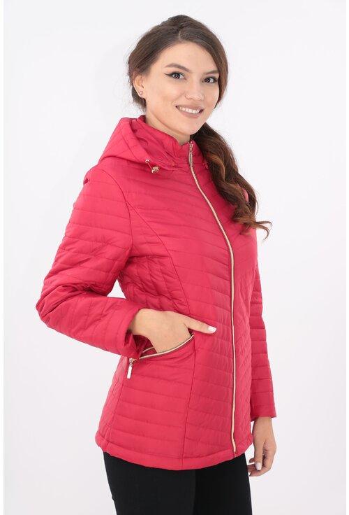 Jacheta rosie cu gluga si fermoar auriu