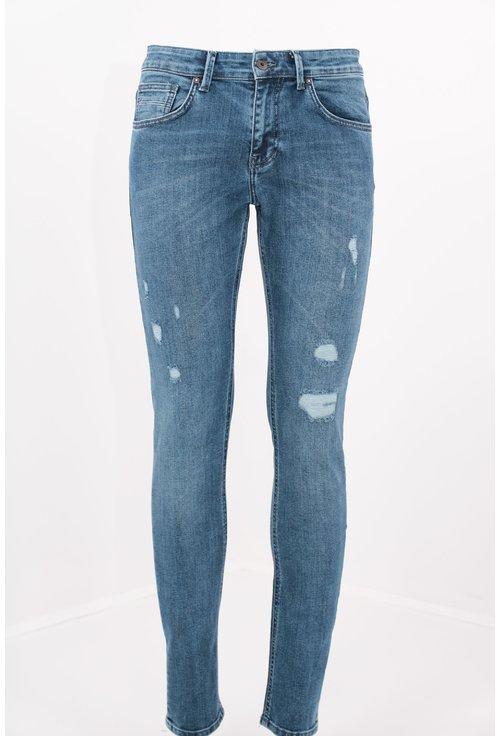 Jeans albastri slim fit decolorati si deteriorati