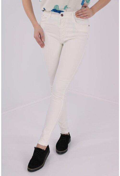 Jeans albi skinny fit cu talie inalta