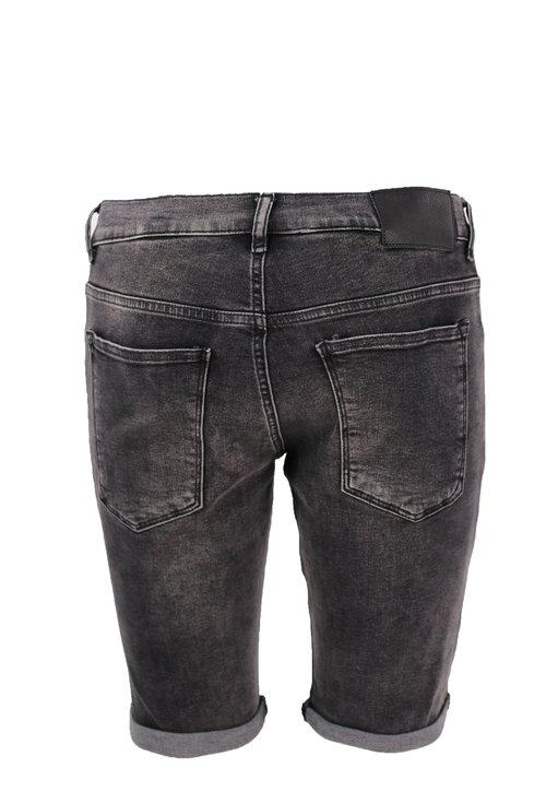 Jeans gri decolorati scurti cu manseta