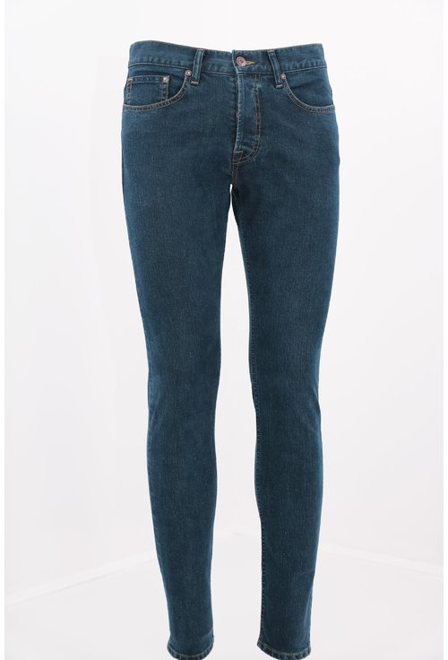 Jeans slim fit bleumarin cusuti cu fir oranj