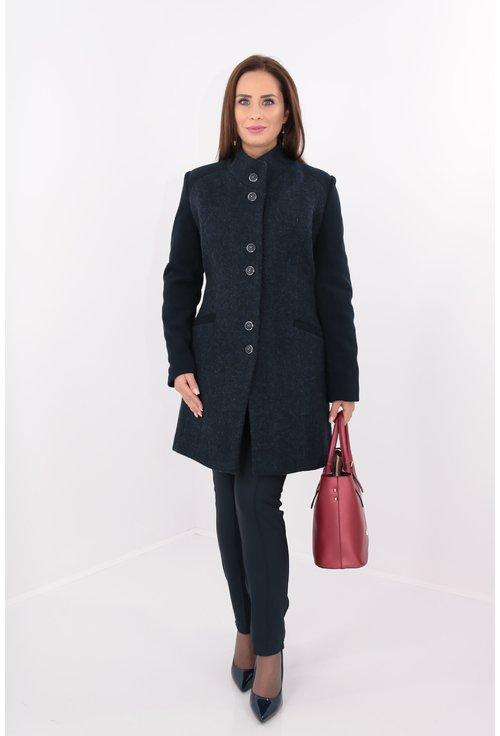 Palton bleumarin din stofa groasa pufoasa