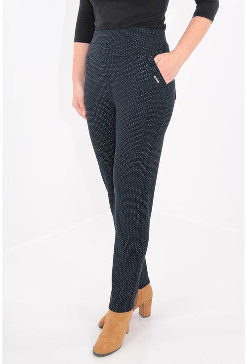 Pantaloni bleumarin cu buline mici gri