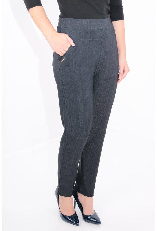 Pantaloni bleumarin cu dungi si model spic