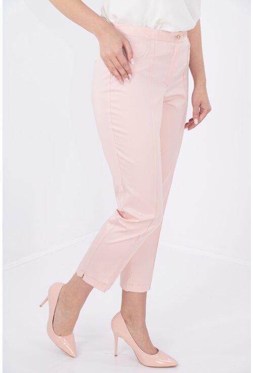 Pantaloni conici 7/8 roz pudra
