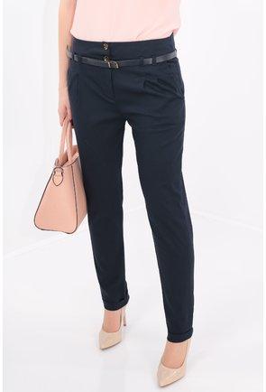 Pantaloni conici bleumarin cu curea