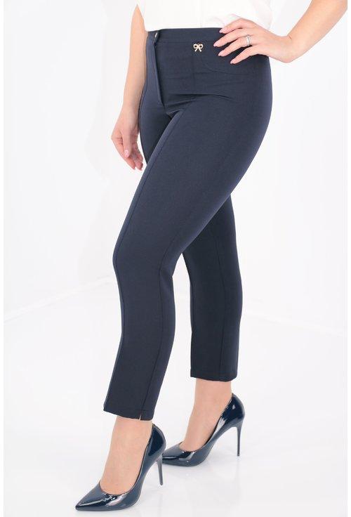 Pantaloni conici bleumarin din stofa subtire