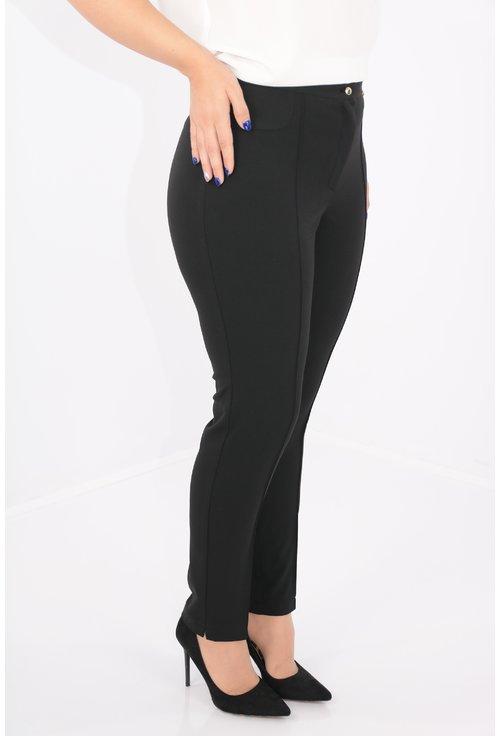 Pantaloni conici negri din stofa elastica