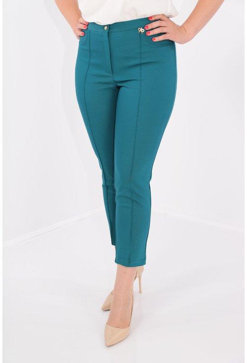 Pantaloni conici turcoaz