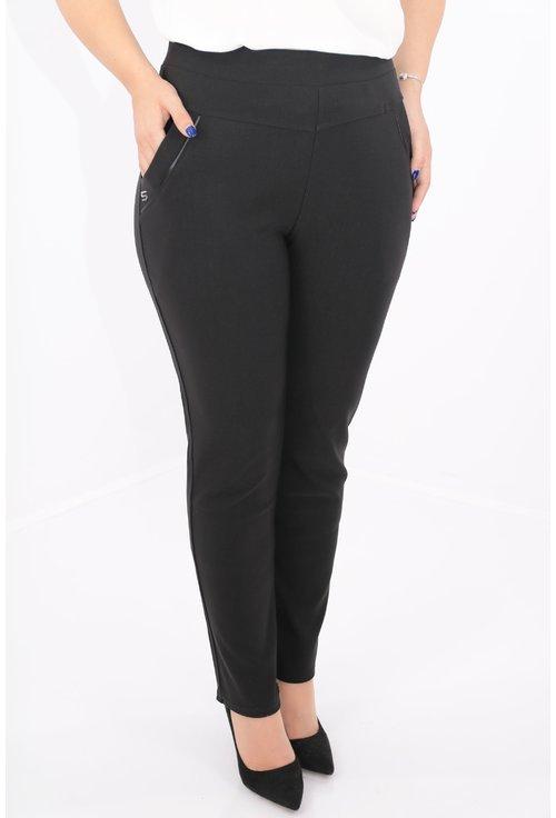 Pantaloni negri conici cu buzunare