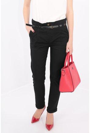 Pantaloni negri conici cu curea