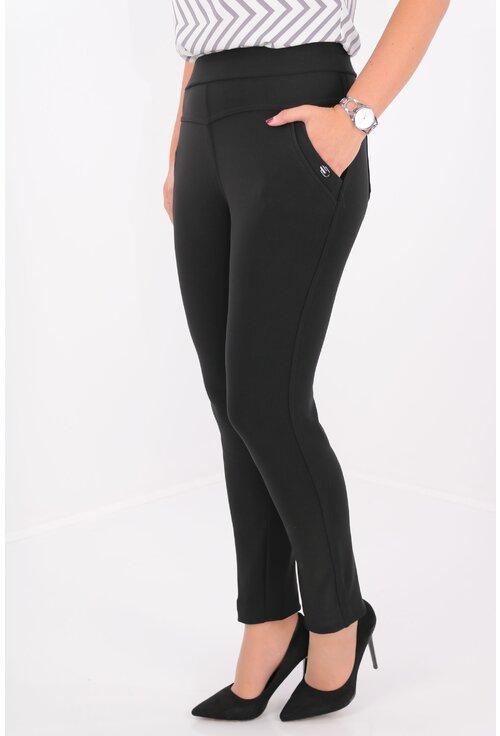 Pantaloni negri cu elastic in talie si buzunare