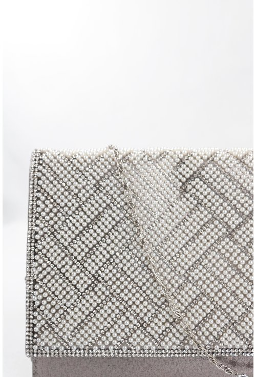 Plic argintiu cu capac decorat cu perle